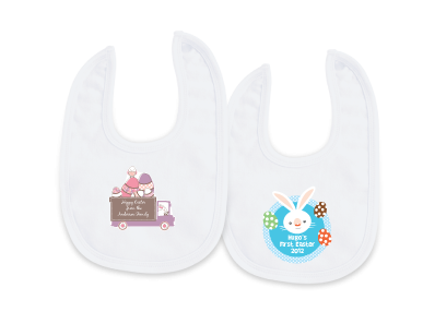 Keep the Easter chocolate off the clothes wtih Easter bibs.