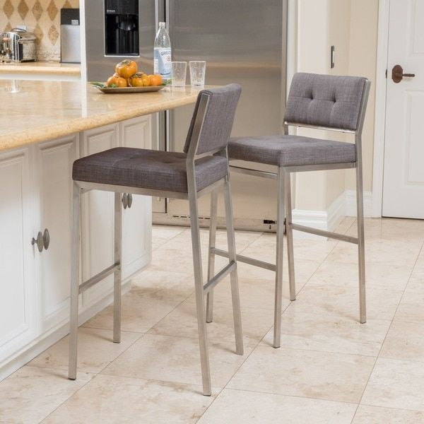 Qyto Fabric Barstool Set Of 2 By Christopher Knight Home
