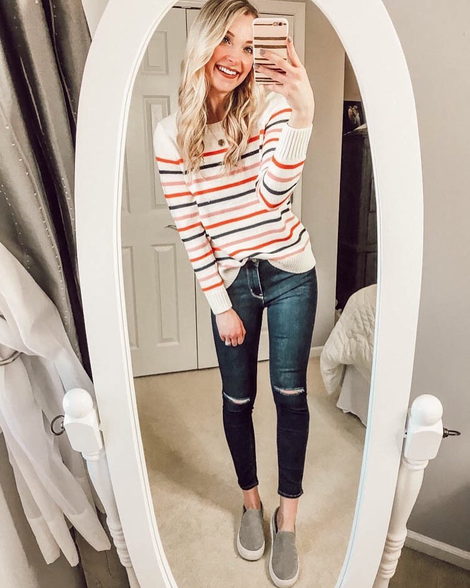 Striped top stripes striped sweater Spring sweater