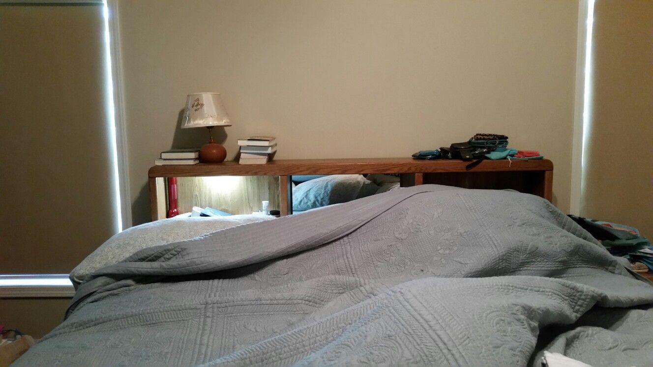 King platform bed w/ bookcase headboard