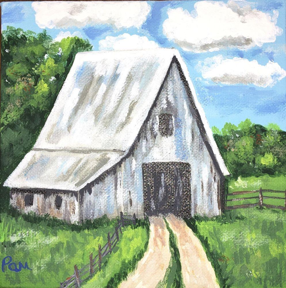 "Weathered Barn. 6""x6"" 3D Canvas  | eBay"