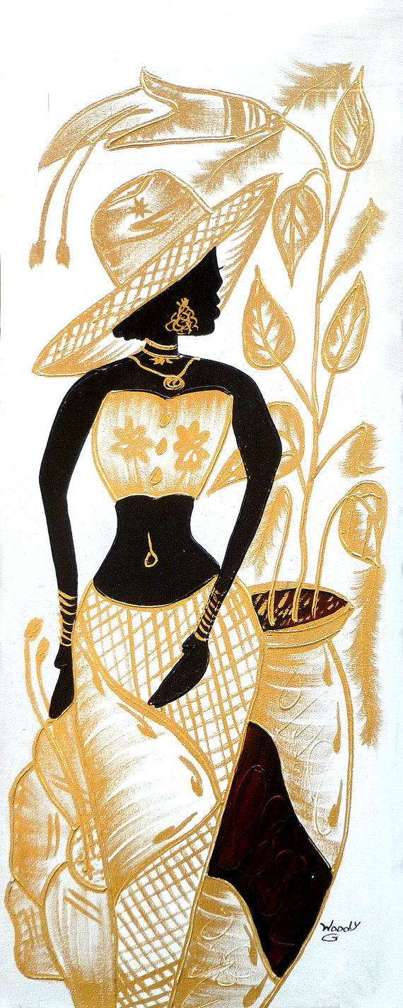 Haitian woman in gold white canvas art of haiti by tropicaccents