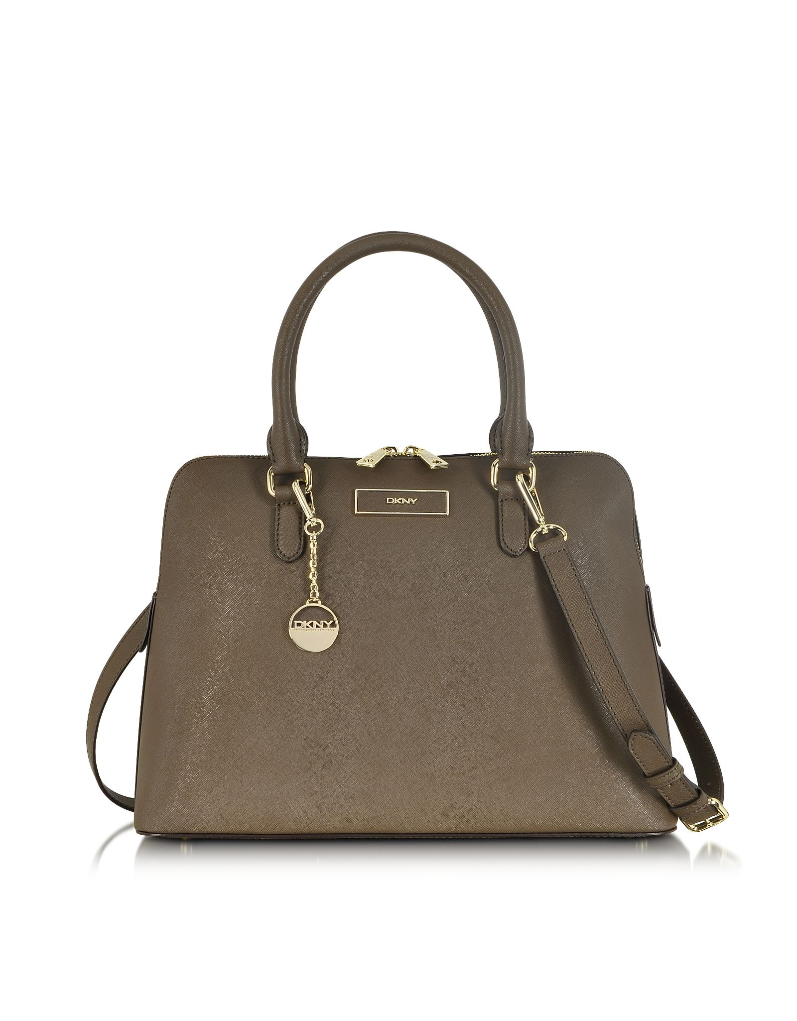 DKNY Khaki Saffiano Leather Bowler Bag at FORZIERI .....My personal and favorite