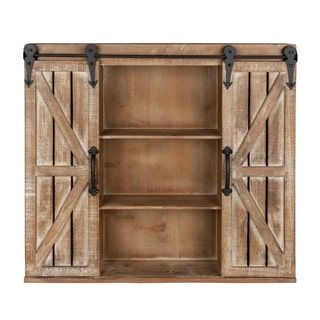 Kate and Laurel Cates Rustic Wood Wall Storage Cabinet with ...