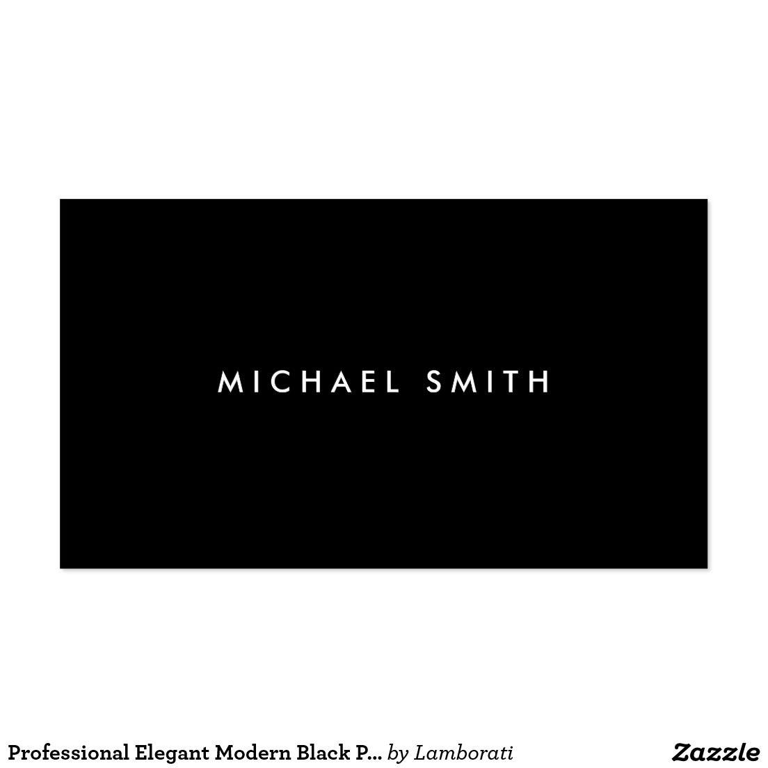 Professional Elegant Modern Black Plain Simple Business Card ...