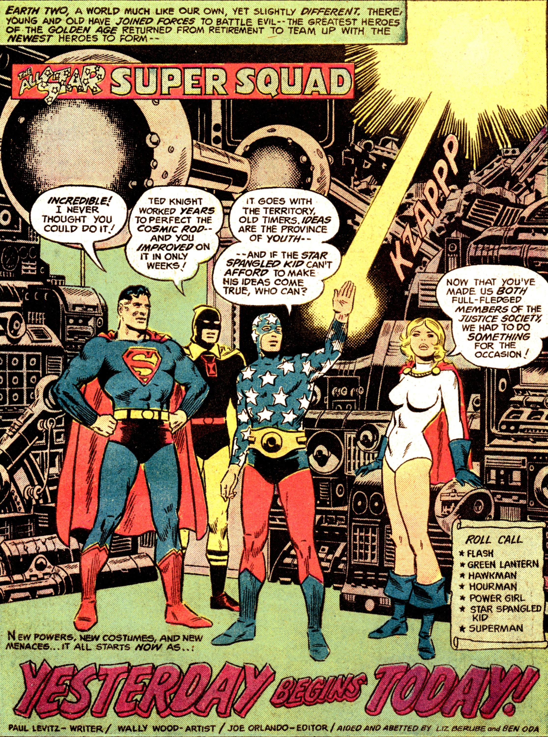 All Star Comics Splash Page Featuring Superman Hourman And The Star