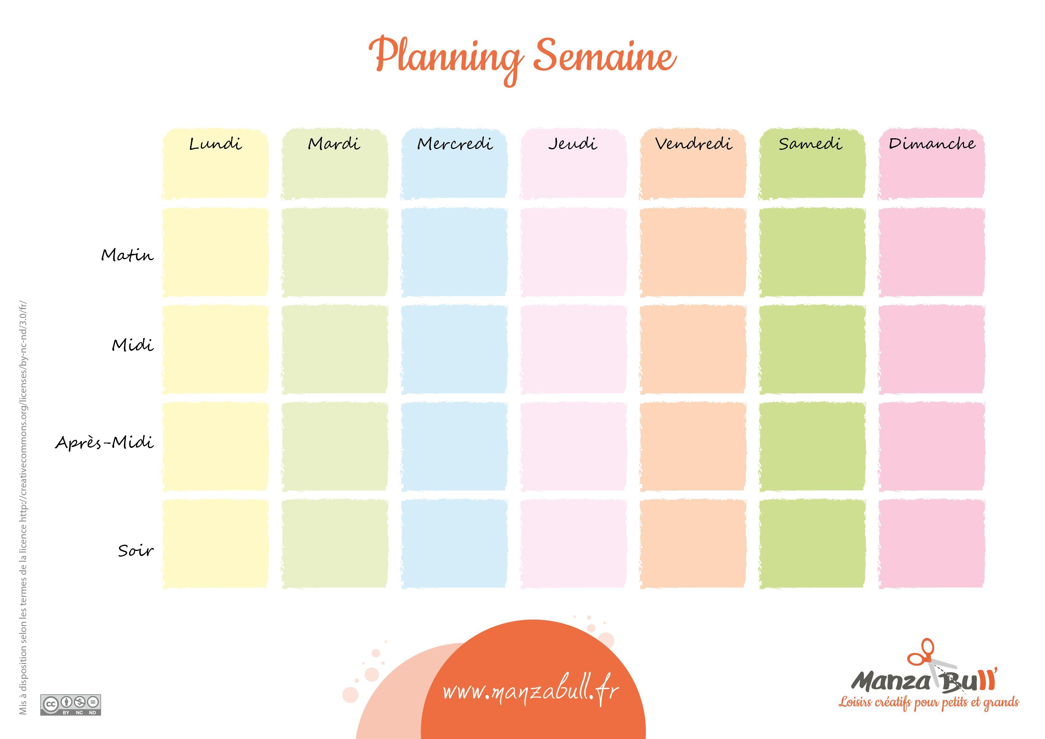 ManzaBull_Planning_Semaine-01 | Planning semaine, Agenda imprimable, Plannig semaine