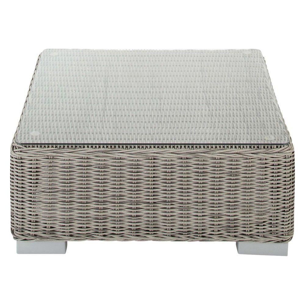 Table basse de jardin en verre trempé et résine tressée grise L 77 ...