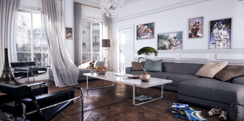 Wohnzimmer Einrichten In Weiß, Schwarz Und Grau