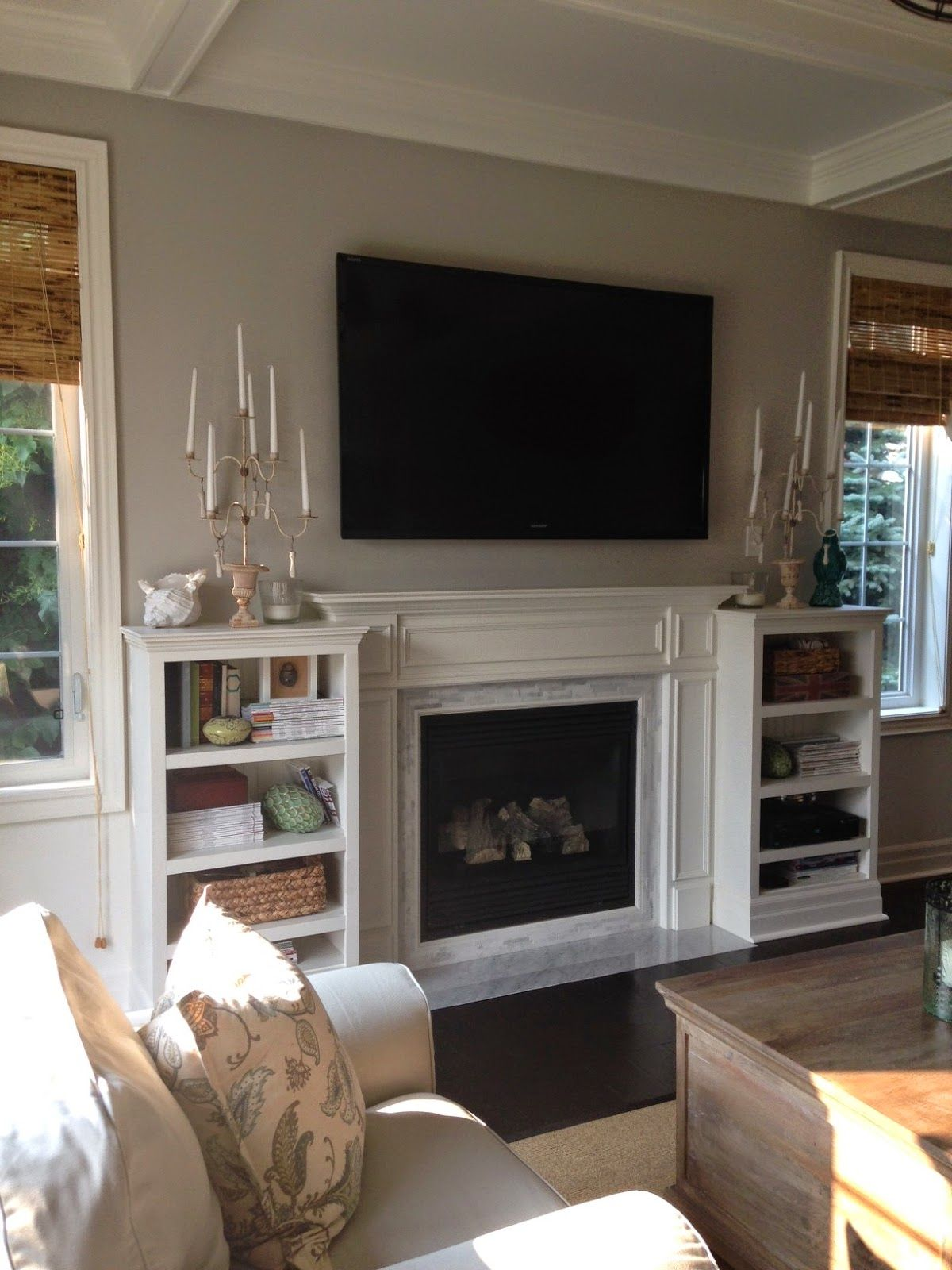 Canadian bloggers home tour Family room fireplace