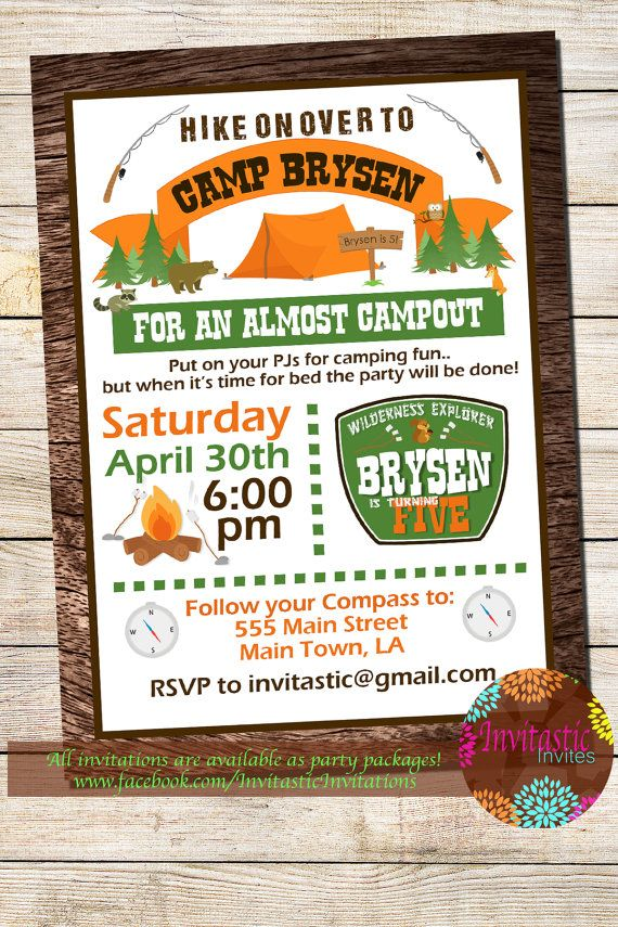Camping Birthday Party Invitation - Almost Camp Out Party, Woodland ...