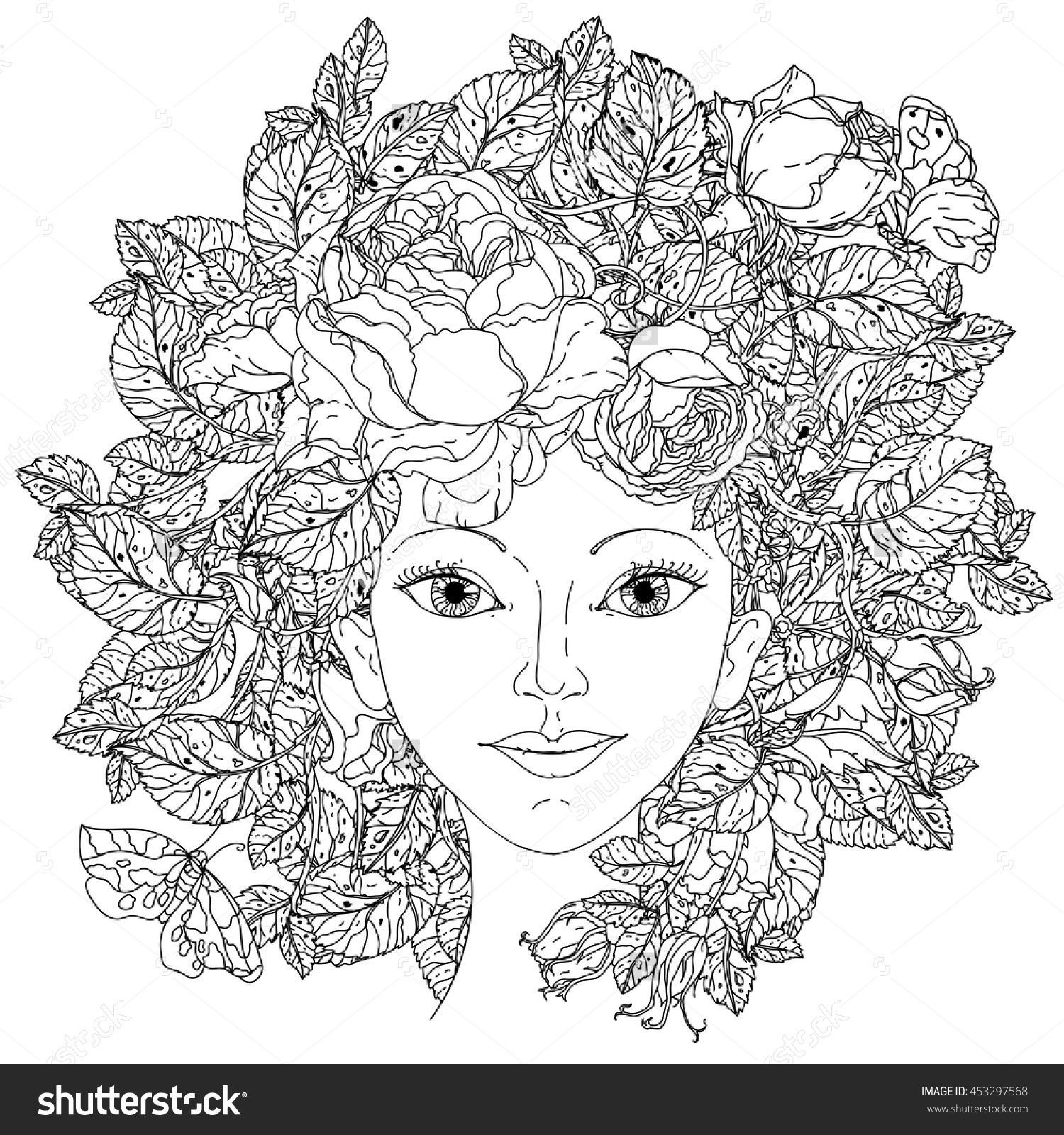 Beautiful Fashion Woman With Abstract Hair As Flowers Bouquet In Shape Of Mandala For Adult
