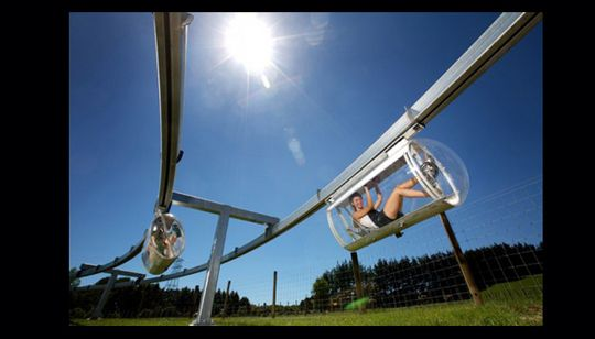 Bicycle monorail system - coming to the US? Already in place in NZ! SHFT | Shweeb Bike Monorail
