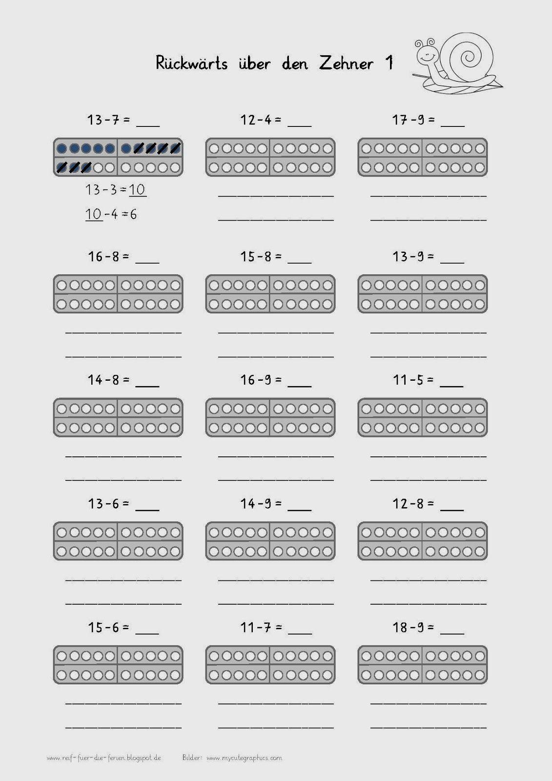 Rückwärts über den Zehner | Mathe 1. klasse | Pinterest | Mathe ...