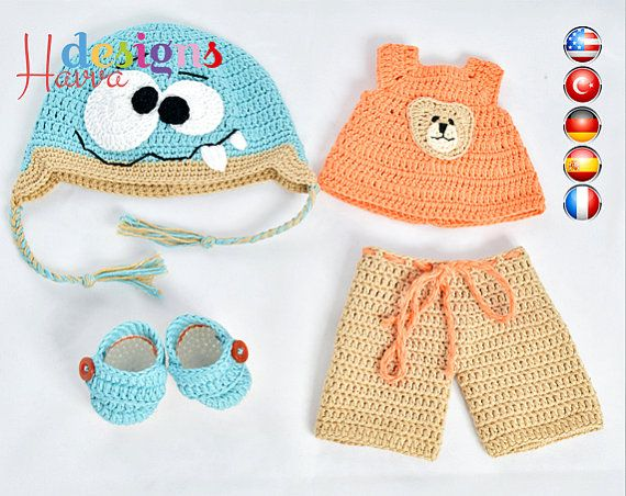 PATTERN - (JUST CLOTHES) Monster Hat and Clothes (crochet, amigurumi ...