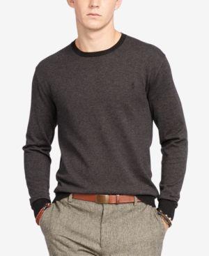 619c331571b2 Polo Ralph Lauren Men s Pima Crew Neck Sweater - Charcoal Grey XS ...