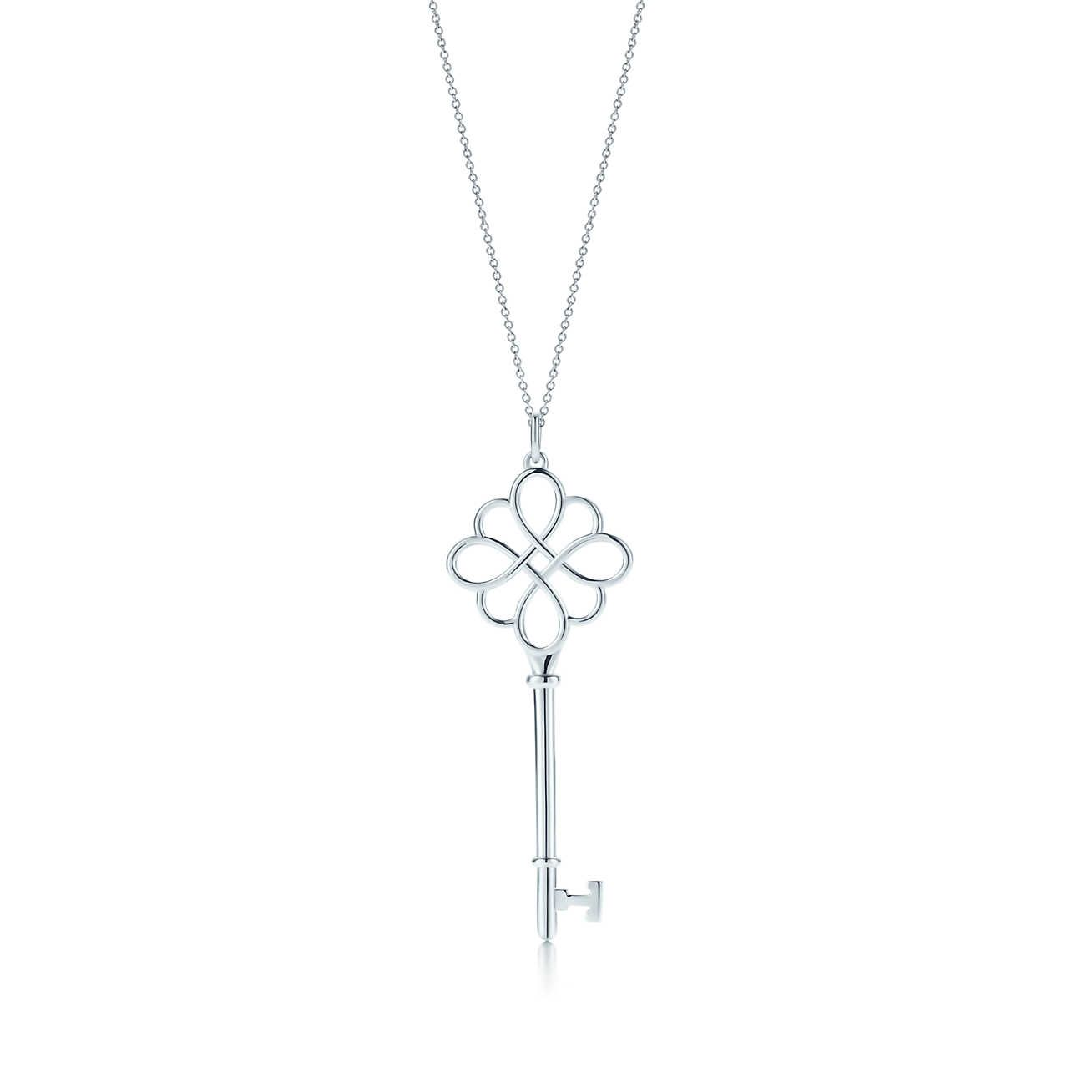 Tiffany Keys knot key pendant in silver with Tiffany Blue enamel finish, large Tiffany & Co.