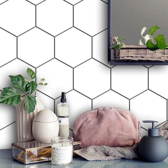 Kitchen and Bathroom Splashback - Removable Vinyl Wallpaper - Hexa Pure White - Peel & Stick #purewhite