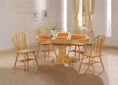 5pc Natural Oval Dining Room Table W Terracotta Tile Top Arrow Back Chairs Set By Coaster Home F Natural Dining Room Round Dining Room Round Dining Room Table
