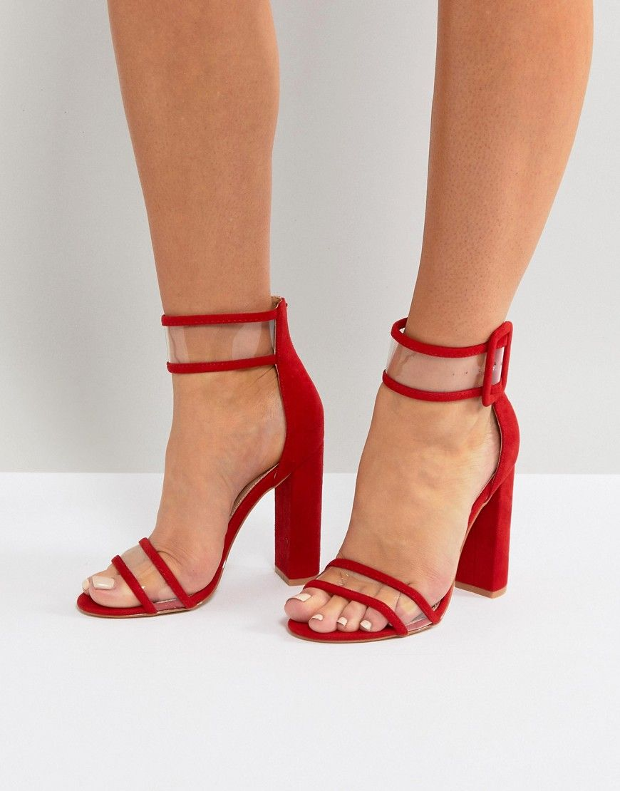 f87fdb24f17 Public Desire Mission Red Clear Strap Block Heeled Sandals - Red