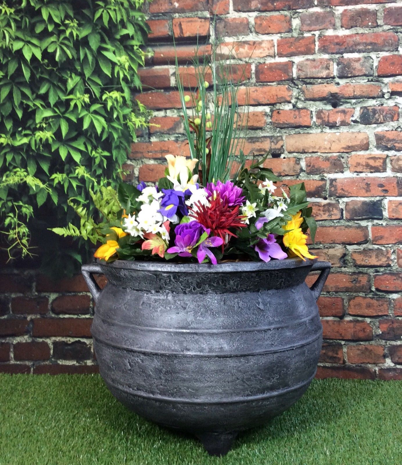 Witches Cauldron Garden Planter 15inch Pewter Patio Flower Pot