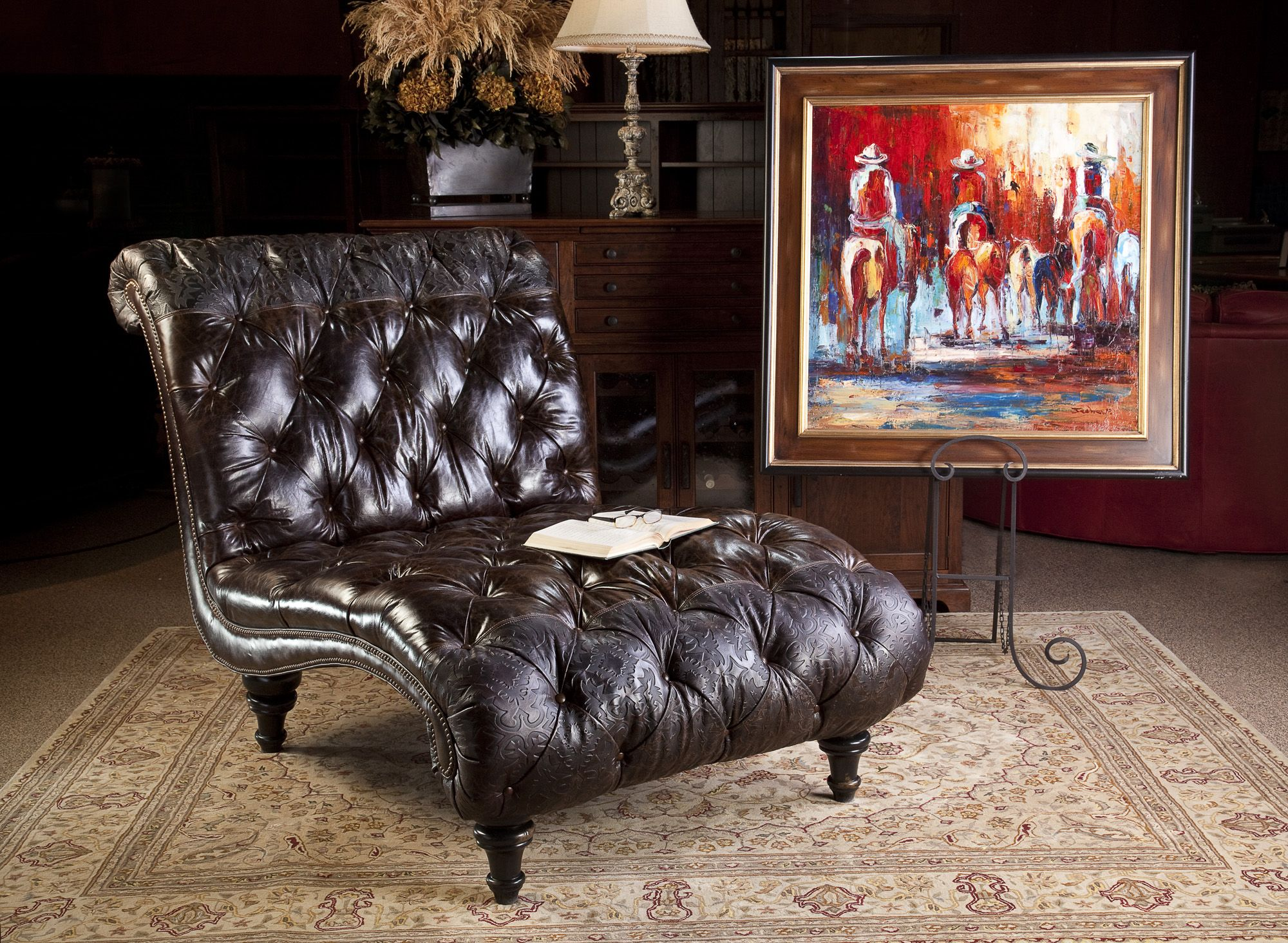 Tufted Leather Chaise Western Elegance Equestrian Art All At Brumbaugh 39 S 817 244 9377 Dream