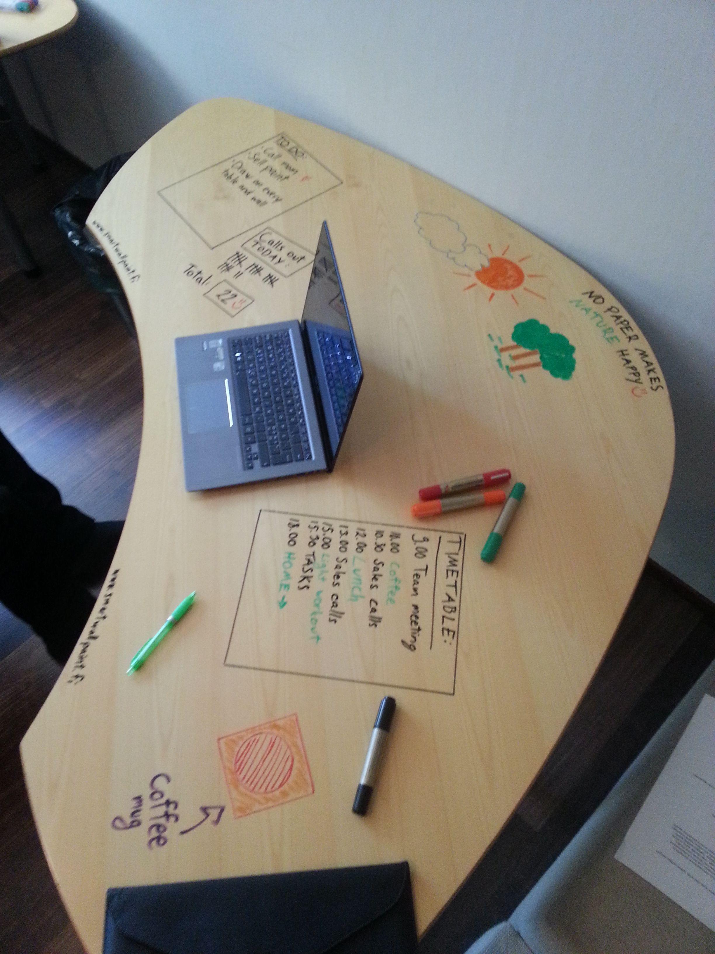 Päällystimme toimistolla Martelan pöytiä läpinäkyvällä Smart Wall Paintilla. Lopputulos on huikea!