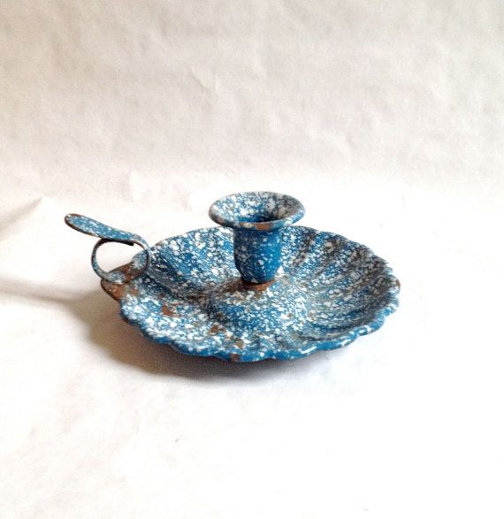 Vintage Blue and White Splatterware Enamelware Walking Candle Holder by AbeilleAntiques, $38.00