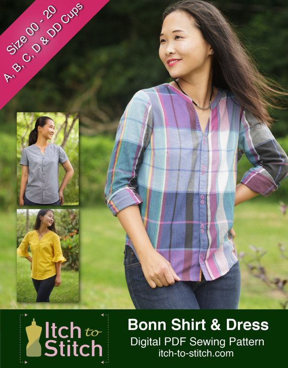 Blouse PDF Sewing Pattern: Bonn Shirt and Shirt Dress for Women ...