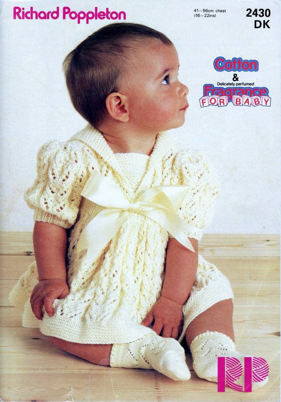 Baby Girl\'s Baby Dk 8 ply Light Worsted Dress 16 - 20 ins - Rp 2030 ...