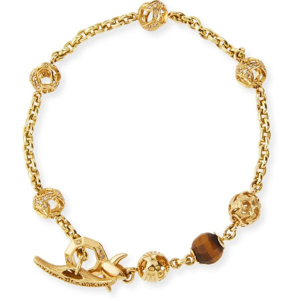Marco Ta Moko Fu 18K Yellow Gold Faceted Tiger Eye Bracelet with... ($4,560) ❤ liked on Polyvore featuring men's fashion, men's jewelry, men's bracelets, yellow gold bangle, tiger eye jewelry, gold diamond bangle, gold beaded jewelry and 18k gold jewelry