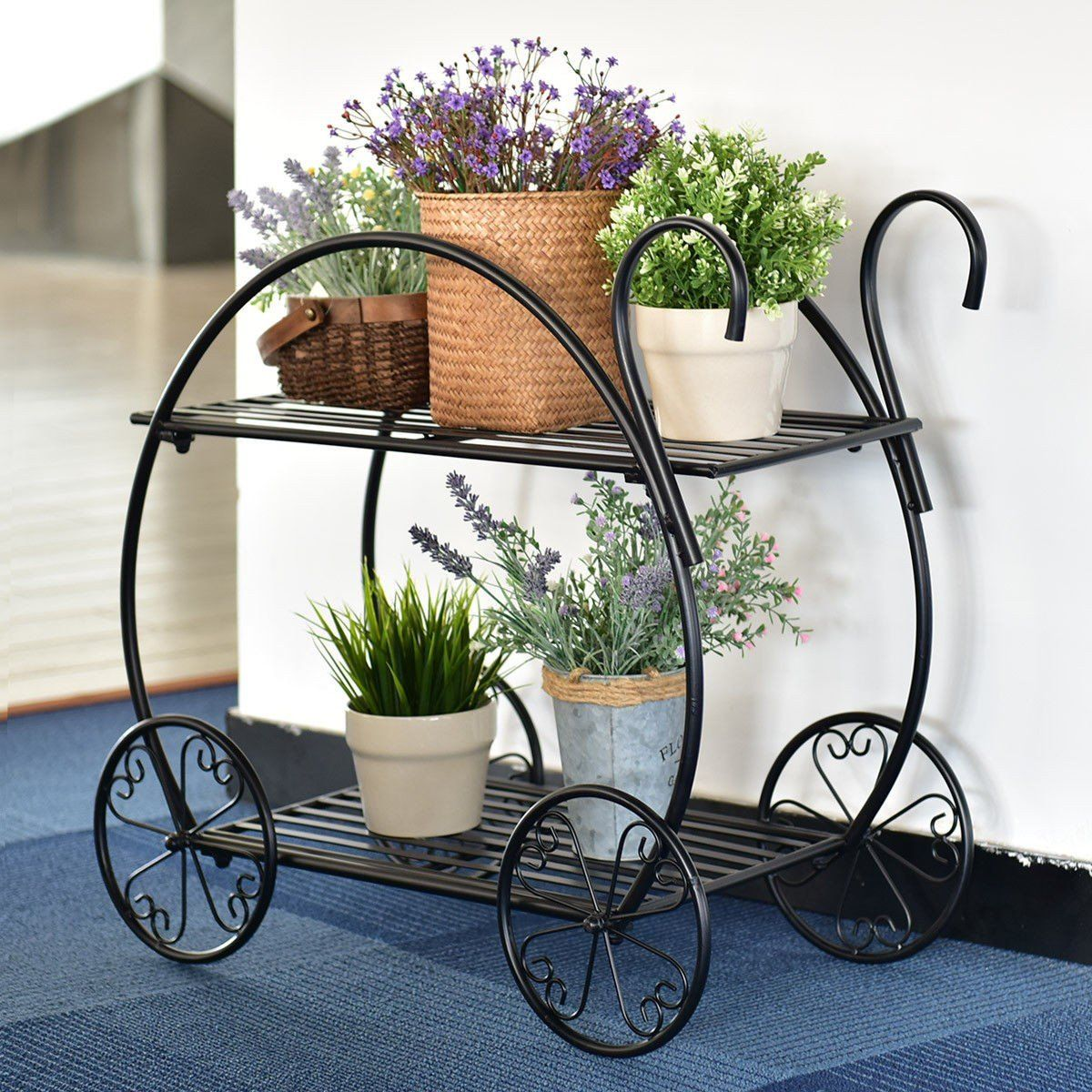 Heavy Duty Metal Flower Cart Plant Stand In 2020 Plant Decor