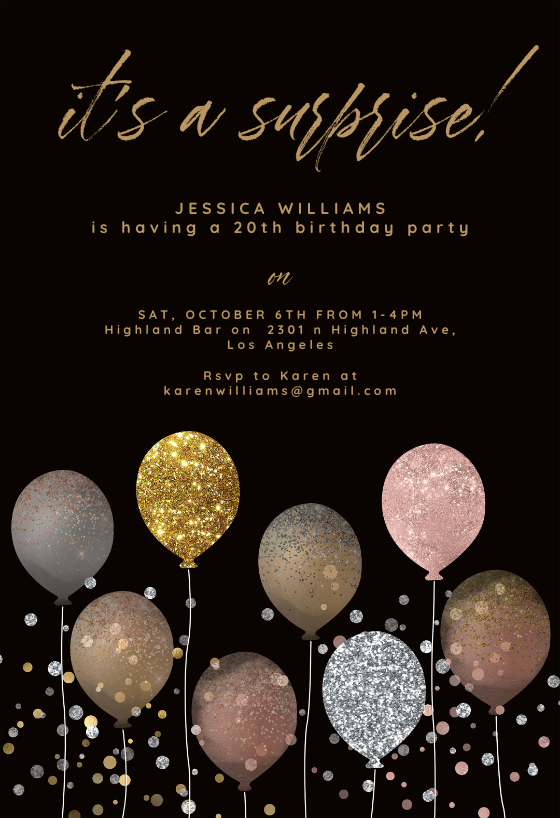 glitter balloon birthday invitation