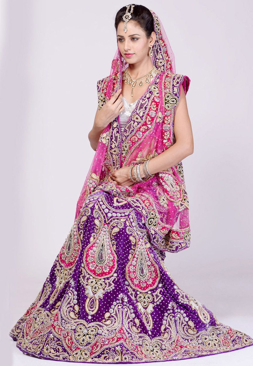 Purple Velvet Lehenga Choli with Dupatta | Indian Bridal Wear ...