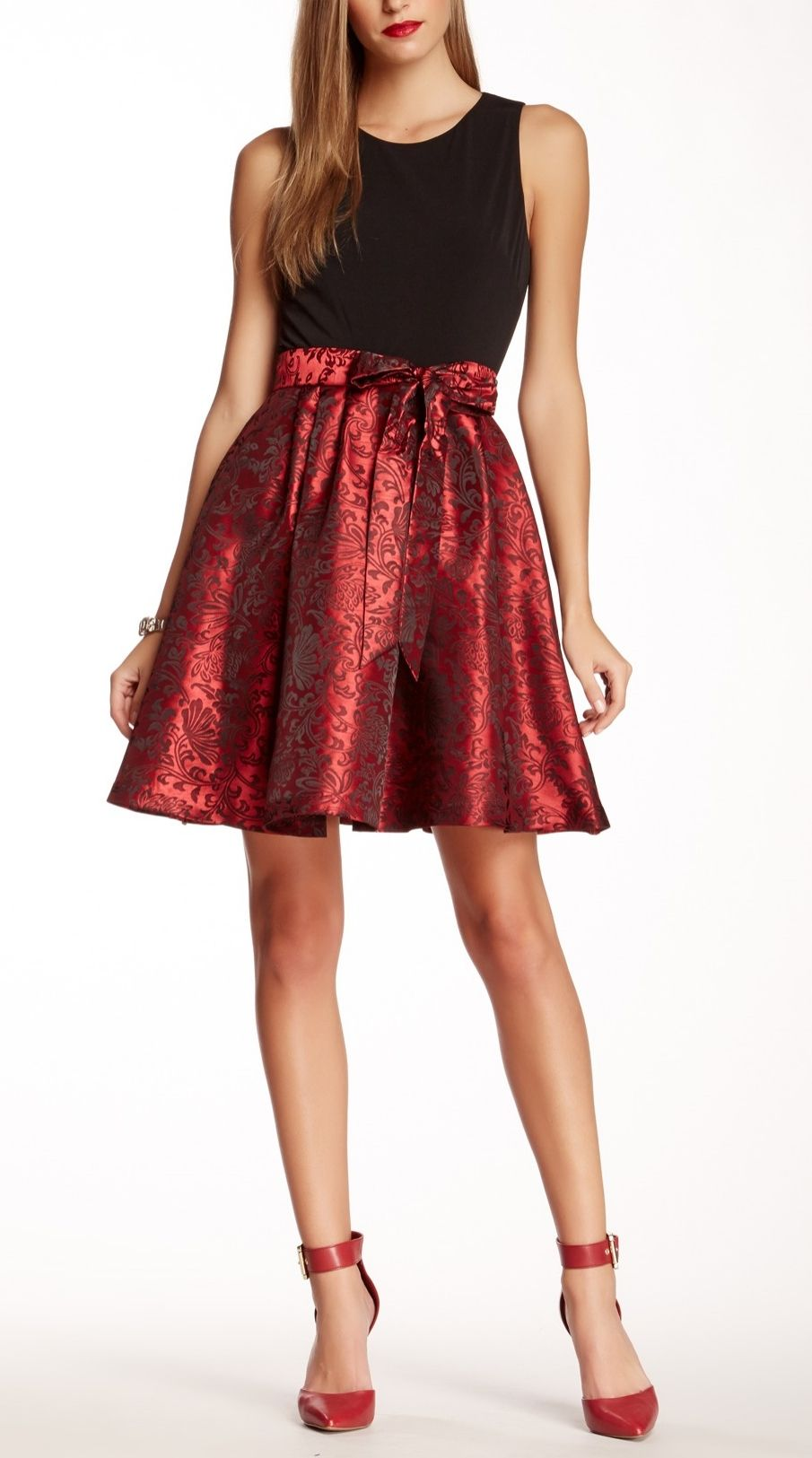 Red Jacquard Dress. Perfect for the holidays!