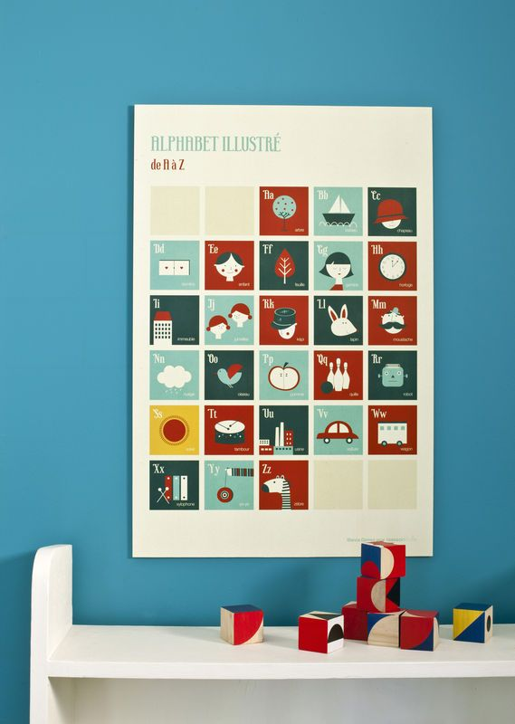 Affiche chambre d\u0027enfant - Alphabet Rétro - Blanca Gomez - Poiss