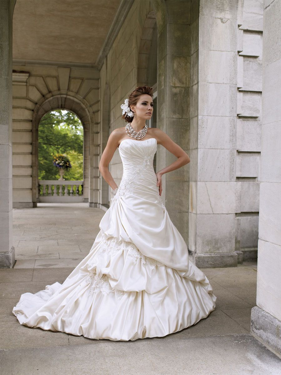Country girl wedding dress  Strapless luxurious satin full Aline gown with softly curved