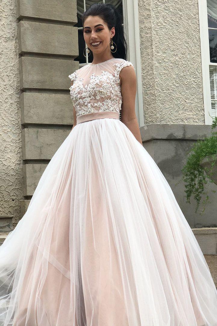 Aline champagne tulle long prom dressapplique cap sleeve