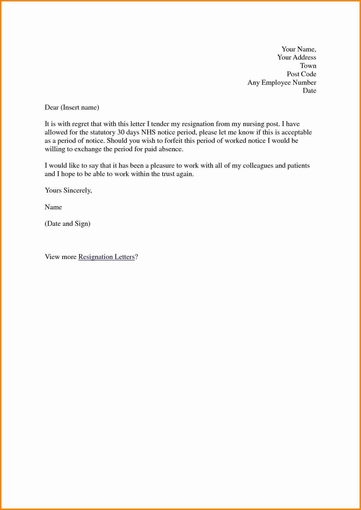 Sample Resignation Letter Nurses Unique 14 Resignation Letter for