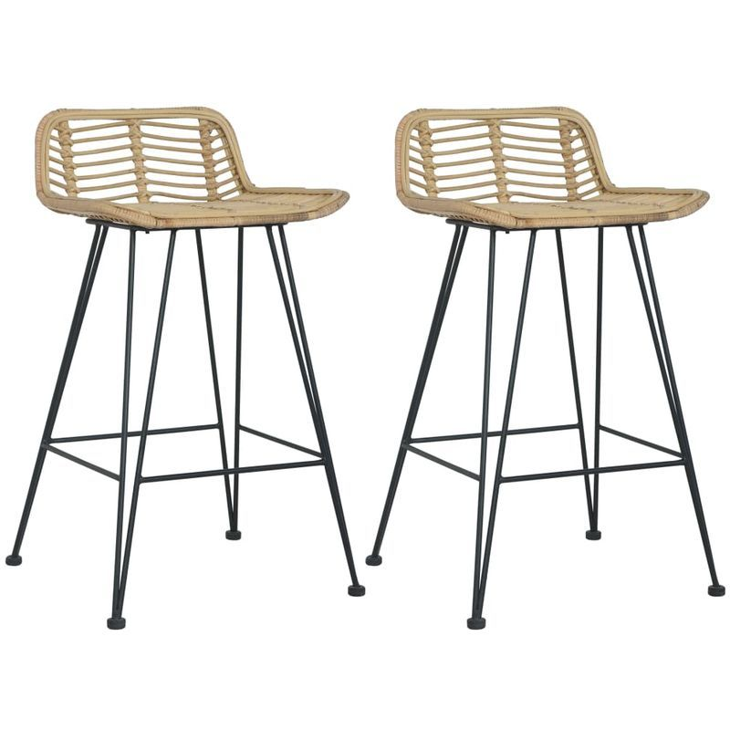 Bar Chairs 2 Pcs Natural Rattan En 2020 Chaise Bar Chaise De Comptoir Tabouret De Bar
