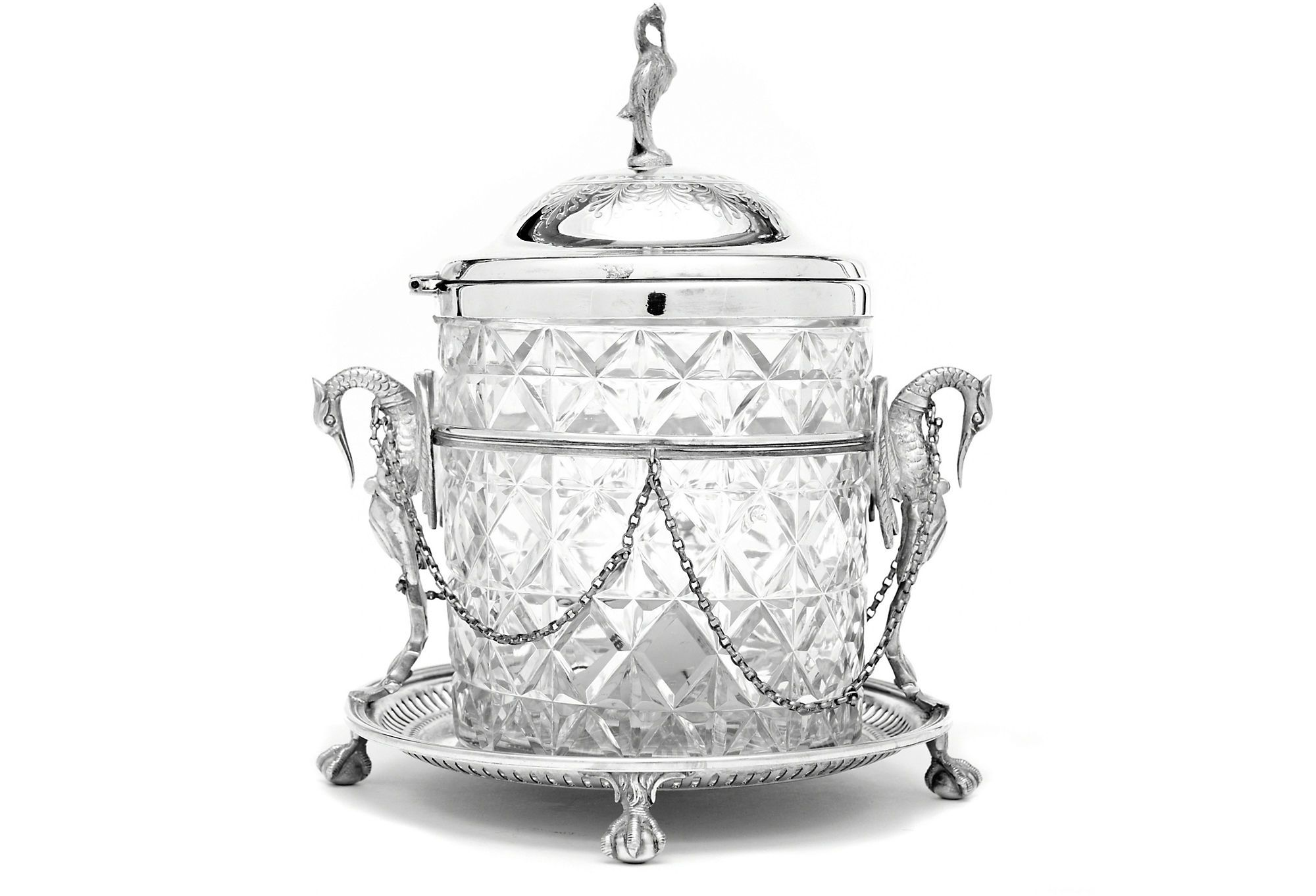 Fine Round Crystal And Silverplate Biscuit Box Or Cookie