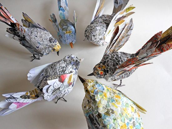 book transformation: flock of birds - paper bird sculptures. http