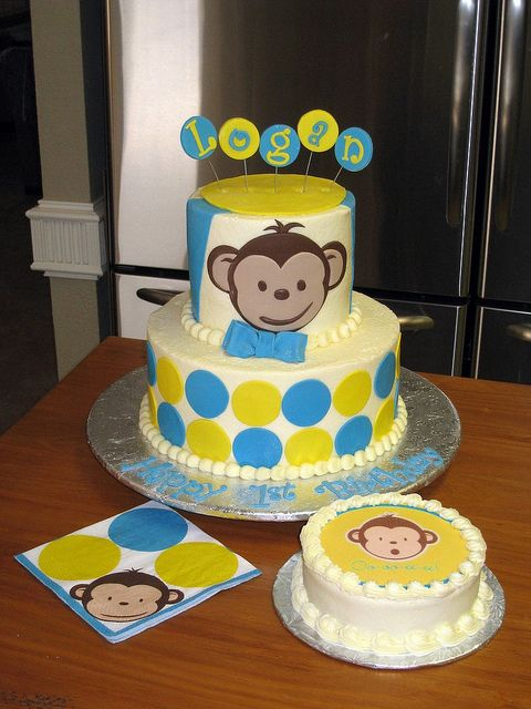 MOD Monkey 1st Birthday Cake Mod monkey Birthday cakes and Monkey
