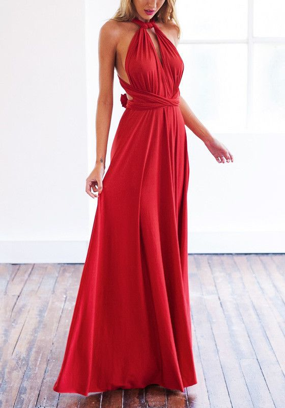 Red Magic Strappy Long Dress – Lookbook Store