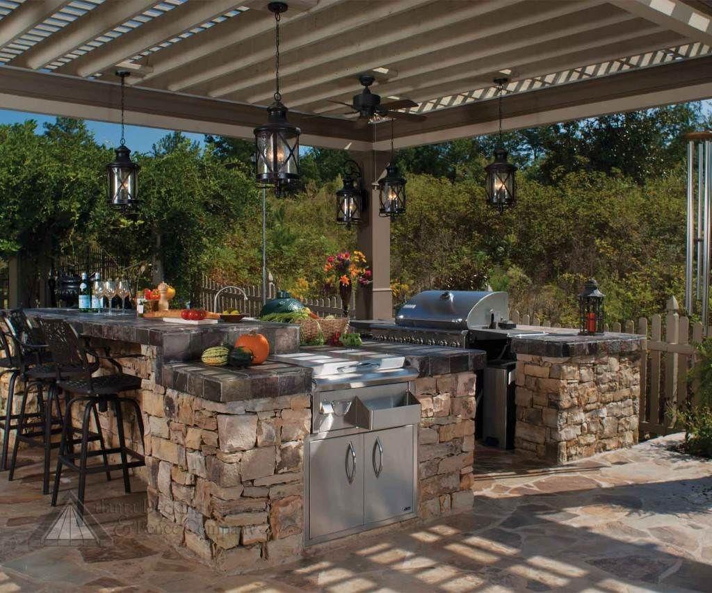 U Shaped Outdoor Kitchen With Pergola Google Search Outdoor Kitchen Design Backyard Kitchen Outdoor Kitchen
