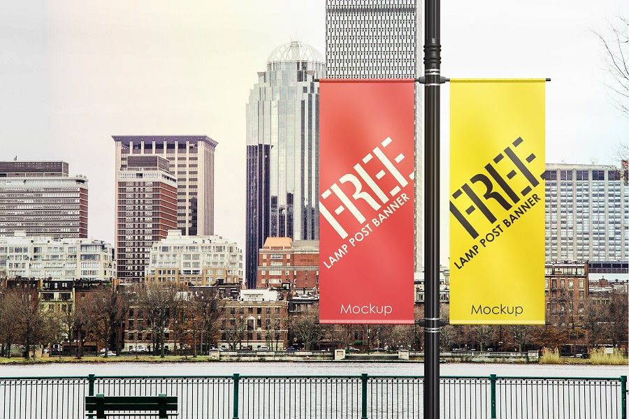Realistic Lamp Post Banner Mockup Free Design Resources Banner Advertising Outdoor Advertising Mockup Outdoor Advertising