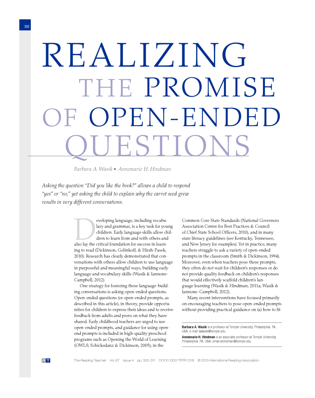 Realizing The Promise Of Open Ended Questions Article In The Reading Teacher On The Use Of Open
