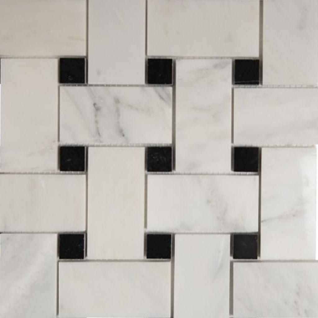 Basketweave Mosaic 2 inch Tile Asian Carrara Black Marble Polished ...