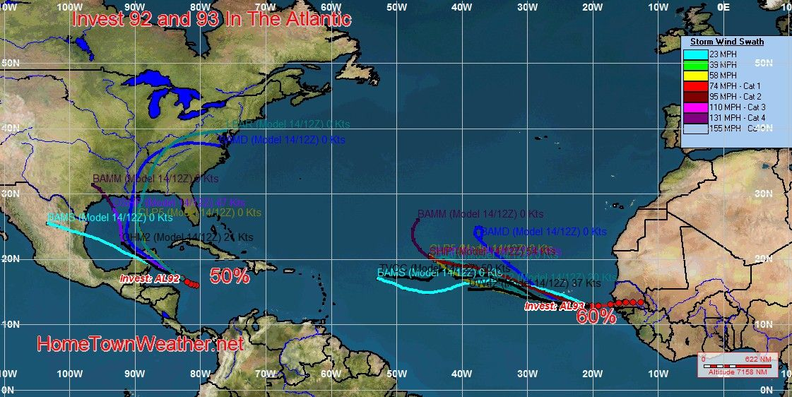 Tracking Atlantic Invest 92 and 93 - Home Town Weather - Hurricane Central