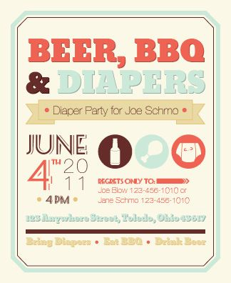 diaper party invite ((if the guys actually care about fancy, Party invitations